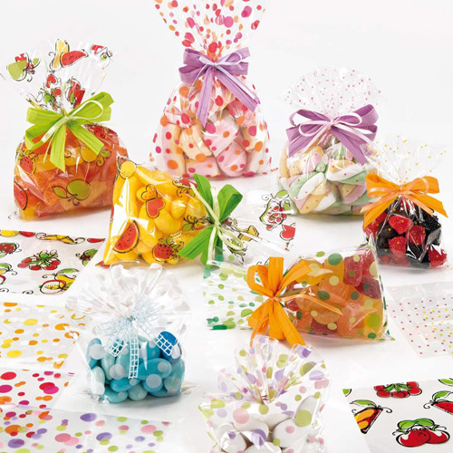 Cellophane Bags Food Friendly Printed Bubbles And Spots