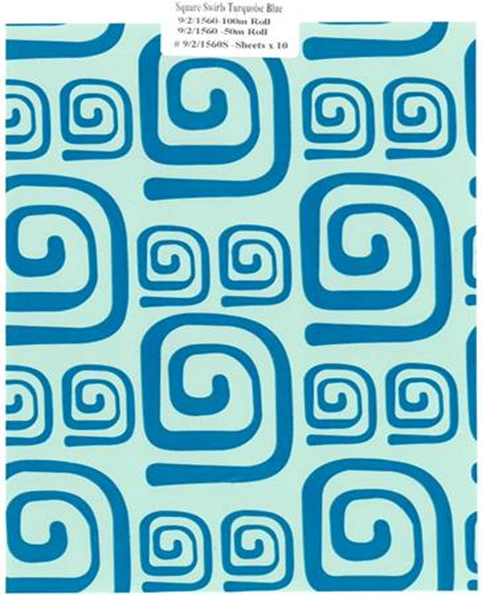 Giftwrap Counter Rolls and Sheets - Square Swirls Turquoise