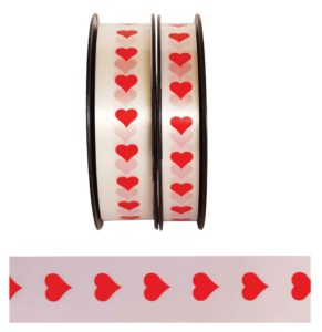 Ribbon - White with Red Hearts x 250 meters